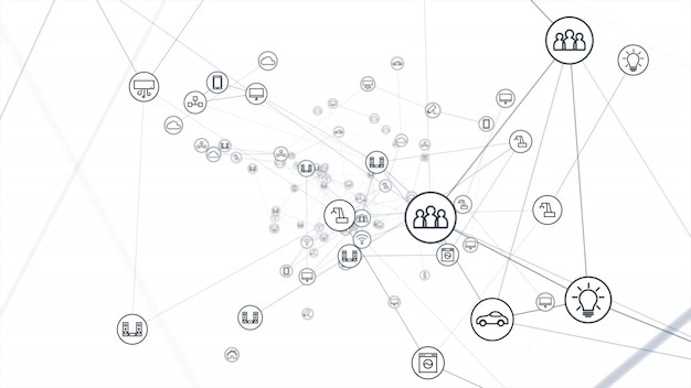 Conceito de rede global. iot (internet das coisas).
