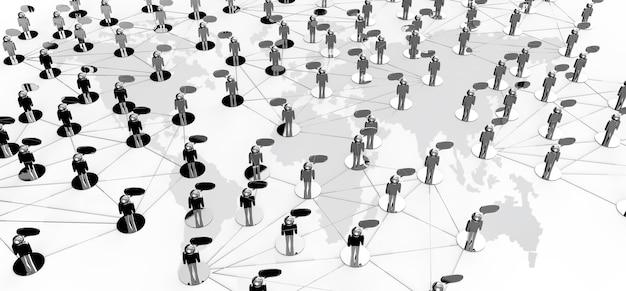 Conceito de rede social no fundo da terra