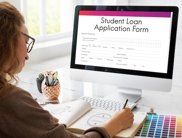 Conceito de registro de formulário de solicitação de empréstimo de estudante