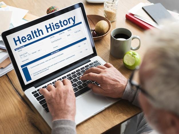 Conceito de registro de histórico de reivindicação de formulário de verificação de saúde