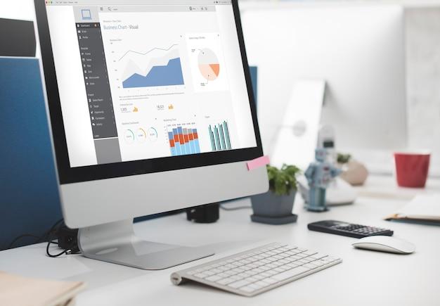 Conceito de relatório de gráficos visuais de gráfico de negócios