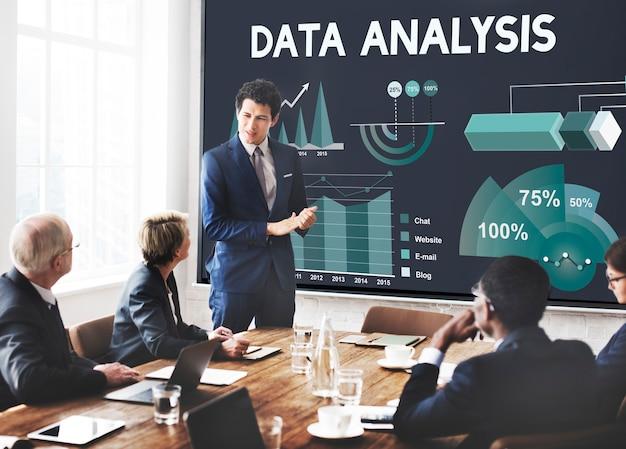 Conceito de relatório de negócios de marketing de análise de dados