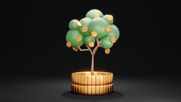 Conceito de renderização 3d da árvore de investimento na pilha de moedas em fundo escuro renderização 3d