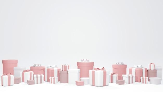 Conceito de renderização 3d de celebração de aniversário conjunto de caixas de presente embrulhadas em tema rosa sobre fundo branco para design comercial caixas de presente embrulhadas 3d render