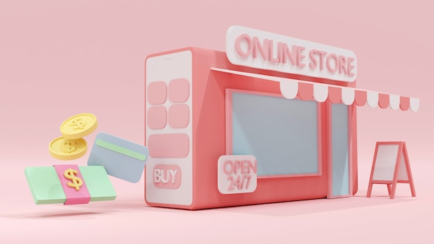 Conceito de renderização 3d de compras online, um telefone com uma loja online e cartão de crédito em dinheiro.