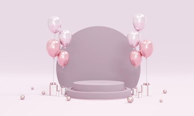 Conceito de renderização 3d de exposição de produto no pódio com tema de balões roxos no fundo para design comercial. renderização 3d.