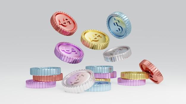 Conceito de renderização 3d de moedas coloridas de prosperidade de dinheiro caindo do topo da cena