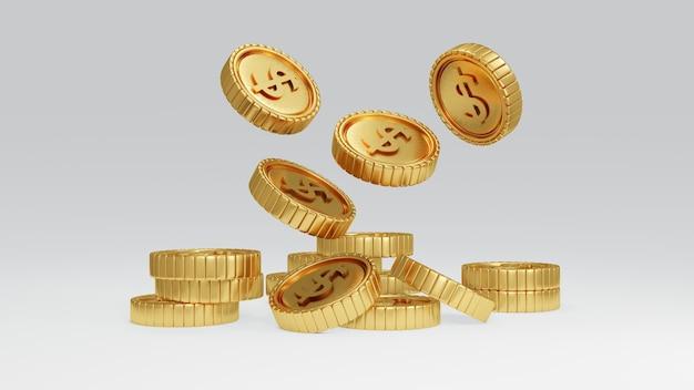 Conceito de renderização 3d de moedas de ouro de prosperidade de dinheiro caindo do topo da cena