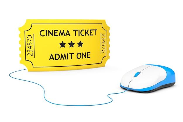 Conceito de reserva online. bilhete de cinema amarelo e mouse de computador em um fundo branco