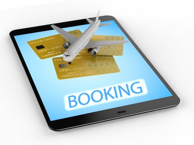 Conceito de reserva online com avião e cartão de crédito