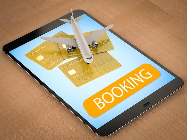 Conceito de reserva online com renderização em 3d de avião e cartão de crédito