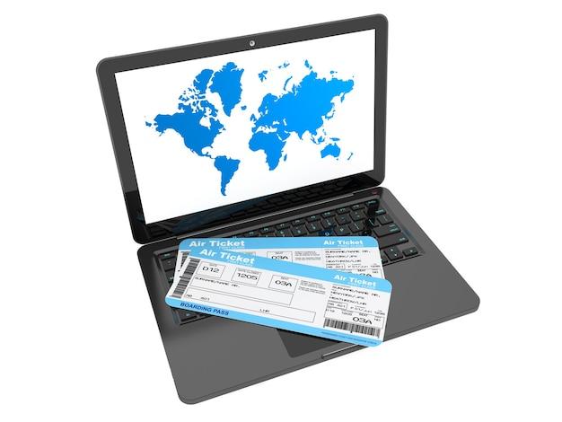 Conceito de reserva online. laptop com passagens aéreas em um fundo branco