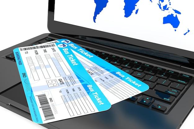 Conceito de reserva online. laptop com passagens de ônibus em um fundo branco