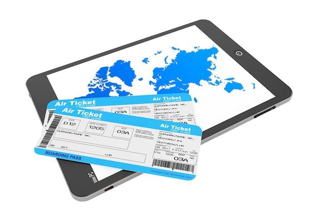 Conceito de reserva online. tablet pc com passagens aéreas em um fundo branco