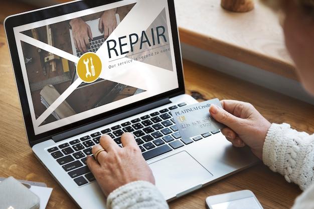 Conceito de restauração de serviço de solução de reparo de manutenção