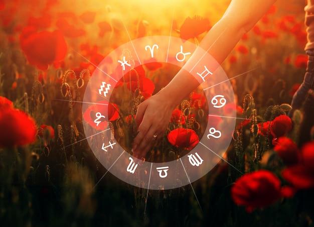Conceito de romântico e amor entre os signos do zodíaco horóscopo astrologia zodíaco