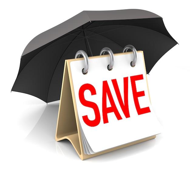 Conceito de salvamento isolado com guarda-chuva. renderização 3d