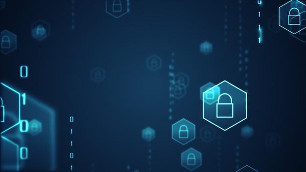 Conceito de segurança cibernética. ícone de escudo com fechadura em fundo de dados digitais.