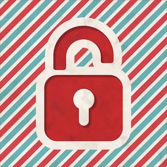 Conceito de segurança com o ícone do cadeado aberto em fundo listrado de vermelho e azul. conceito vintage em design plano.