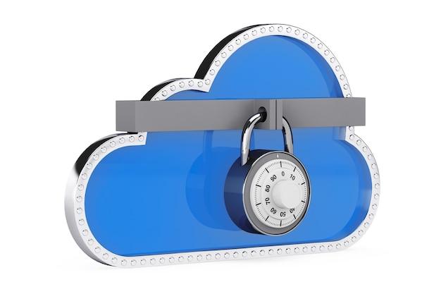 Conceito de segurança da internet. nuvem 3d com cadeado em um fundo branco