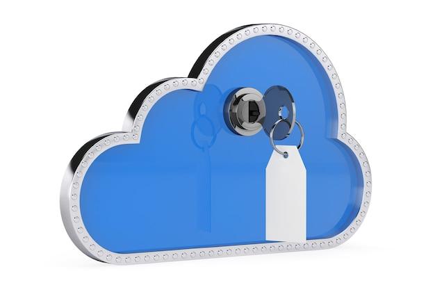 Conceito de segurança da internet. nuvem 3d com chave e cadeado em um fundo branco