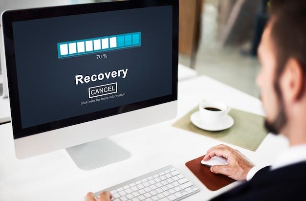 Conceito de segurança de armazenamento de dados de restauração de backup de recuperação