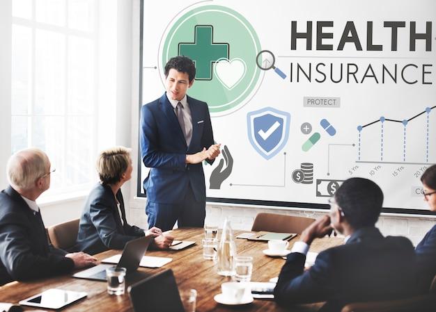 Conceito de segurança de risco médico da health insurance assurnace