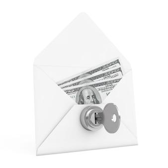 Conceito de segurança. dinheiro em envelope com chave e fechadura em um fundo branco. renderização 3d.