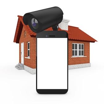Conceito de segurança doméstica. telefone móvel com tela em branco e câmera de segurança na frente do prédio da casa em um fundo branco. renderização 3d