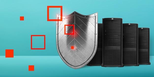 Conceito de segurança em uma sala de data center com servidor de banco de dados