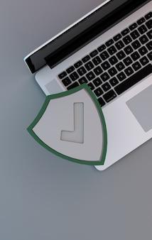 Conceito de segurança informática. um laptop com escudo verde para proteção online