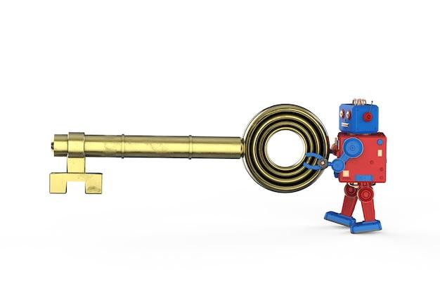 Conceito de segurança on-line com renderização em 3d, mini robô, chave de retenção