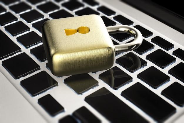 Conceito de segurança online com cadeado dourado com renderização em 3d