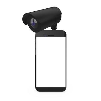 Conceito de segurança. telefone móvel com tela em branco e câmera de segurança em um fundo branco. renderização 3d