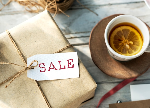 Conceito de selo de desconto de compra de promoção de venda