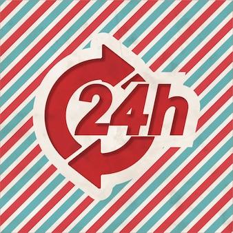 Conceito de serviço 24h em fundo listrado de vermelho e azul. conceito vintage em design plano.