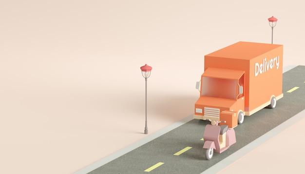 Conceito de serviço de caminhão e scooter de entrega rápida
