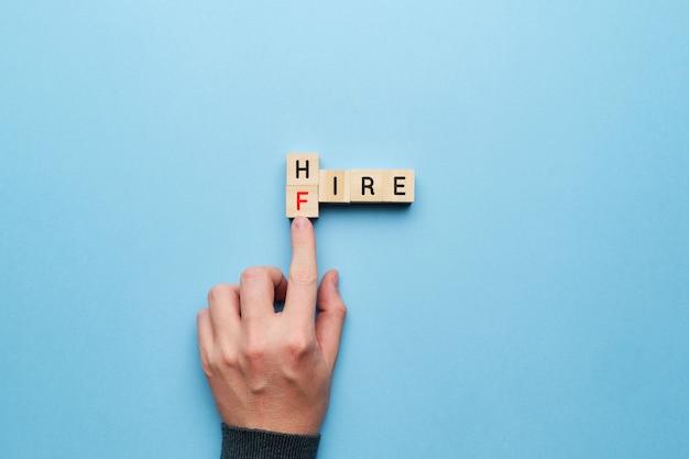 Conceito de serviço de contratação e demissão de rh