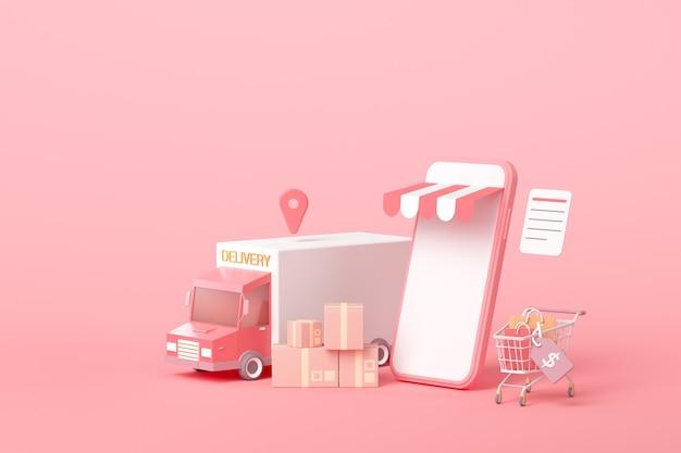 Conceito de serviço de entrega expressa 3d online