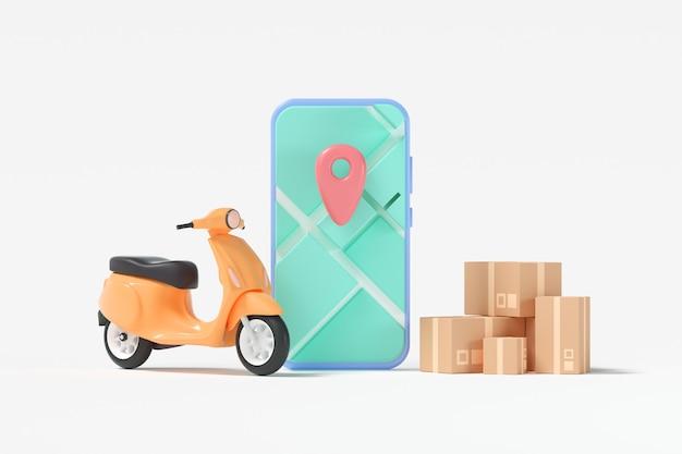 Conceito de serviço de entrega rápida 3d. scooter de entrega com mapa gps do smartphone, localização personalizada e rastreamento de pedidos online. ilustração 3d render