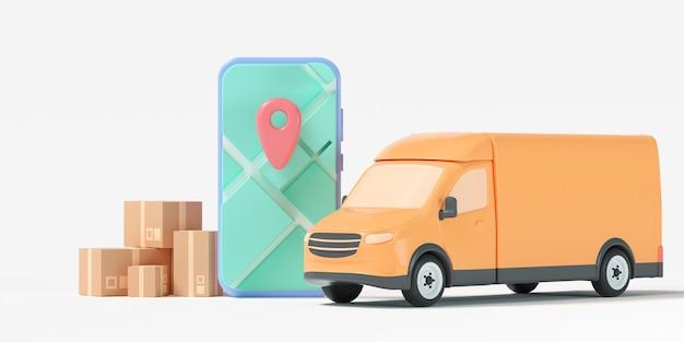 Conceito de serviço de entrega rápida 3d. van de entrega com mapa gps do smartphone, localização personalizada e rastreamento de pedidos online. ilustração 3d render