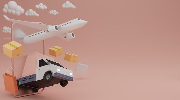 Conceito de serviço de entrega. van de entrega, transporte de carga de avião, bolsa de compras e remessa de caixa marrom