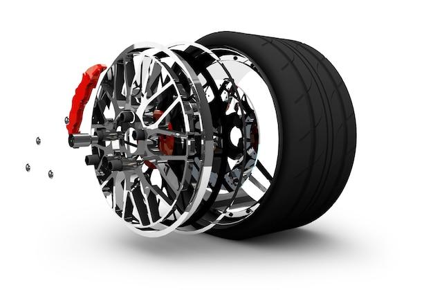 Conceito de serviço de pneus. rodas, aros, pastilhas e discos de freio. peças do carro. isolado no fundo branco renderização 3d de alta resolução.
