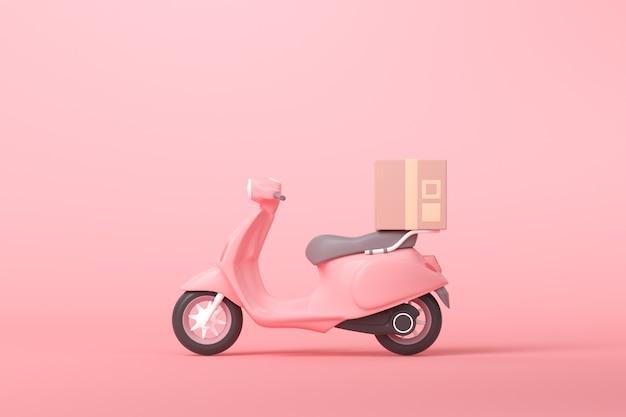 Conceito de serviço de scooter de entrega expressa 3d online