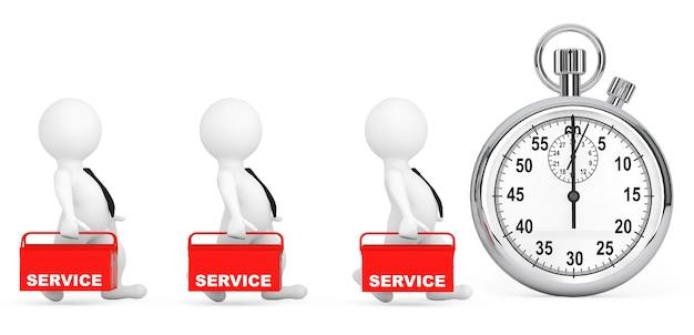 Conceito de serviço rápido. pessoas 3d com caixa de ferramentas vermelha e cronômetro em um fundo branco