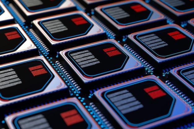 Conceito de servidor de computador. wafer de silicone com linhas de microchip cpu closeup extrema. renderização 3d