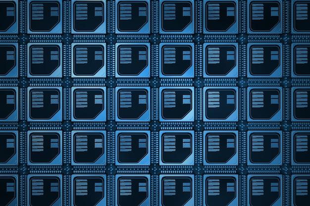 Conceito de servidor de computador. wafer de silicone com linhas de microchip cpu em azul key closeup extrema. renderização 3d