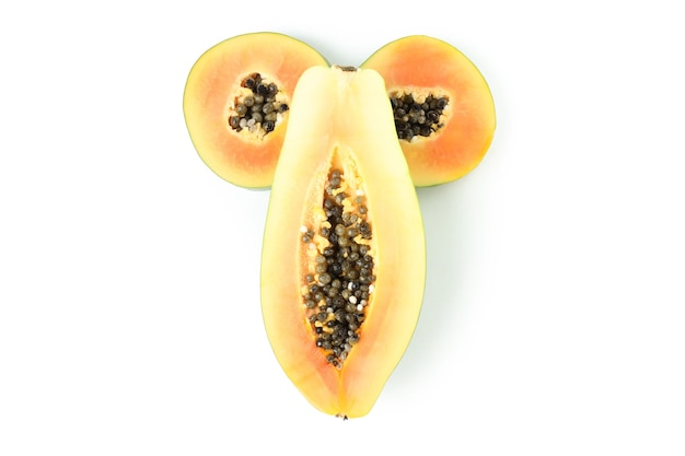 Conceito de sexo com mamão isolado no fundo branco