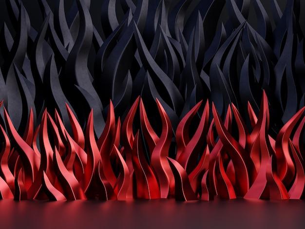 Conceito de sexta-feira negra fundo abstrato com conceito de chama vermelha e preta ilustração 3d render