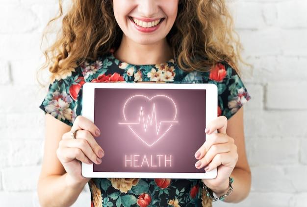 Conceito de símbolo de ícone de batimento cardíaco de saúde